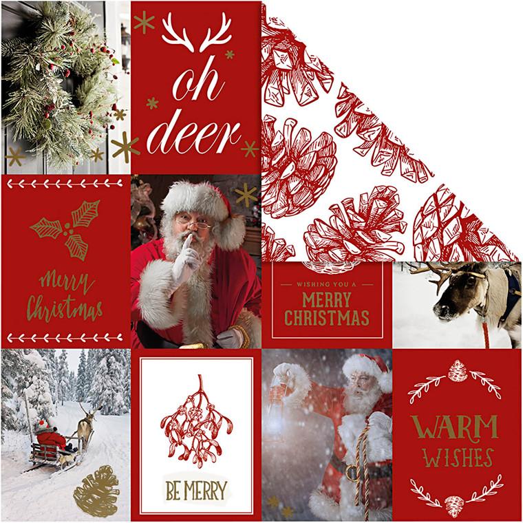 Vivi Gade Designpapir julemotiver og kogler, ark 30,5 x 30,5 cm 180 gram - 3 ark