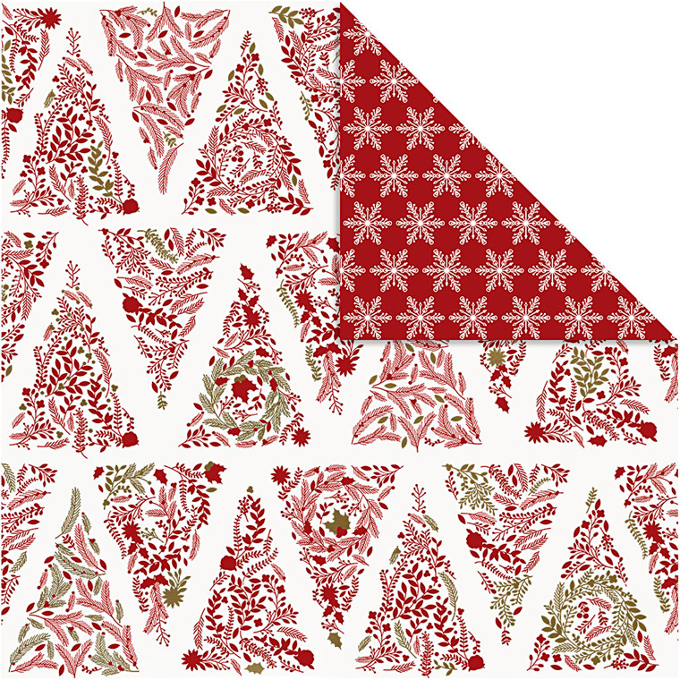 Designpapir Vivi Gade juletræer og stjerner ark 30,5 x 30,5 cm 180 gram | 3 ark