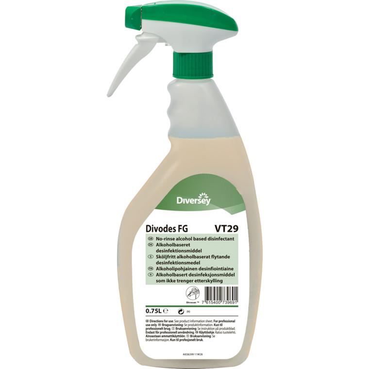 UDSOLGT Desinfektion, DI Divodes FG VT29, alkoholbaseret, klar-til-brug spray, 750 ml