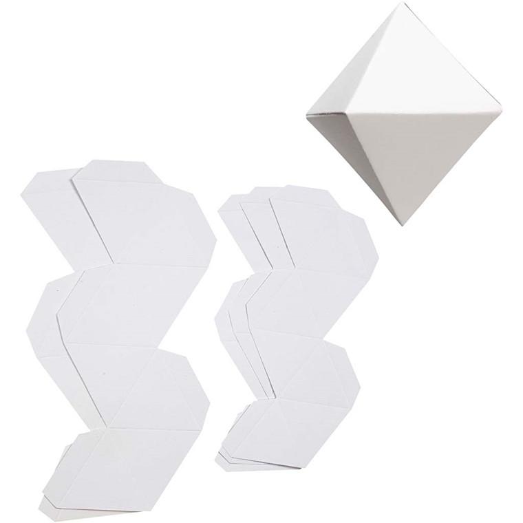 Diamant-ophæng højde 6,5 + 8,5 cm 180 gram hvid Basic | 12 stk
