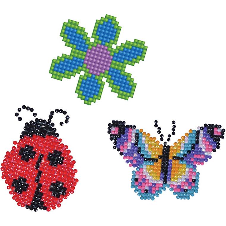 Diamond Dotz, str. 18x10 cm, blomst, sommerfugl og mariehøne, 1pk.