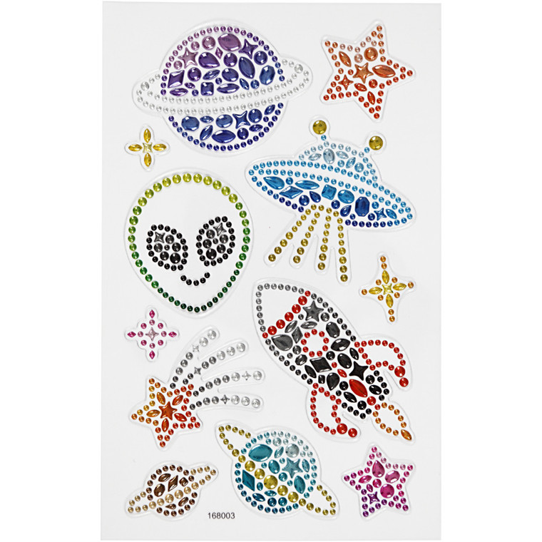 Diamond stickers, ark 15x16,5 cm, rummet, 1ark