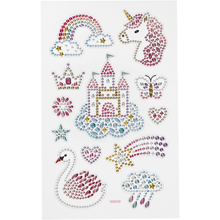 Diamond stickers, ark 15x16,5 cm, unicorn univers, 1ark