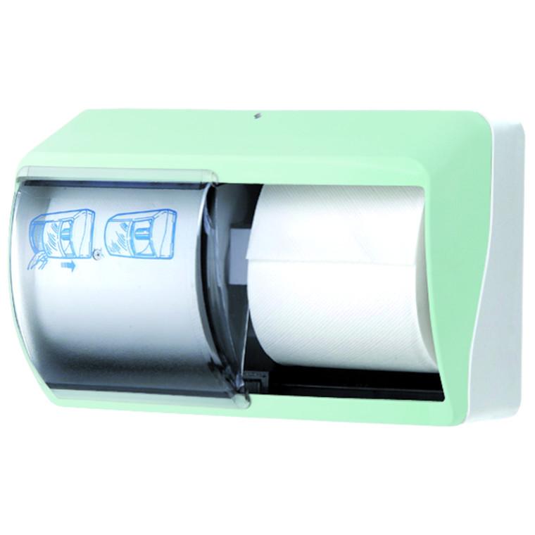 Dispenser, Eco Line, til 2 ruller toiletpapir, grøn,