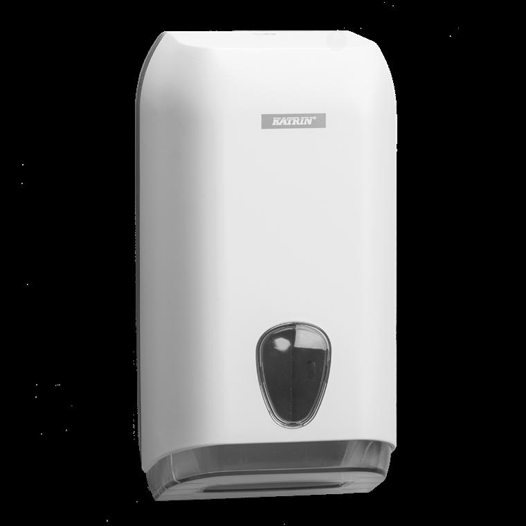 Katrin 92582 Folded Toilet Tissue Dispenser til foldet toiletpapir - Hvid plast
