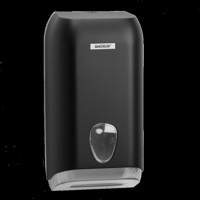 Katrin 92605 Folded Toilet Tissue Dispenser til foldet toiletpapir - Sort plast