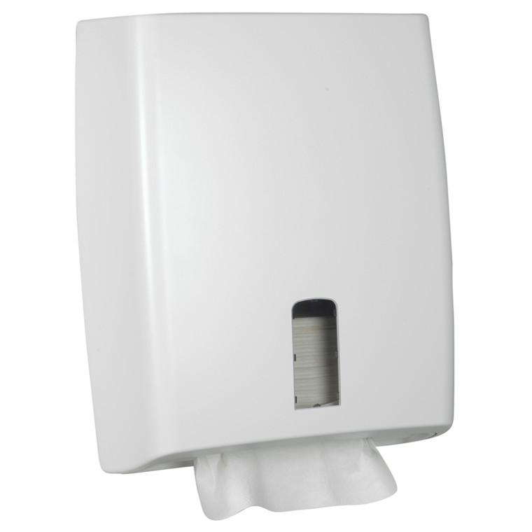Dispenser, White Classic, Midi, 12,5x31x39cm, hvid, plast, til alle typer håndklædeark
