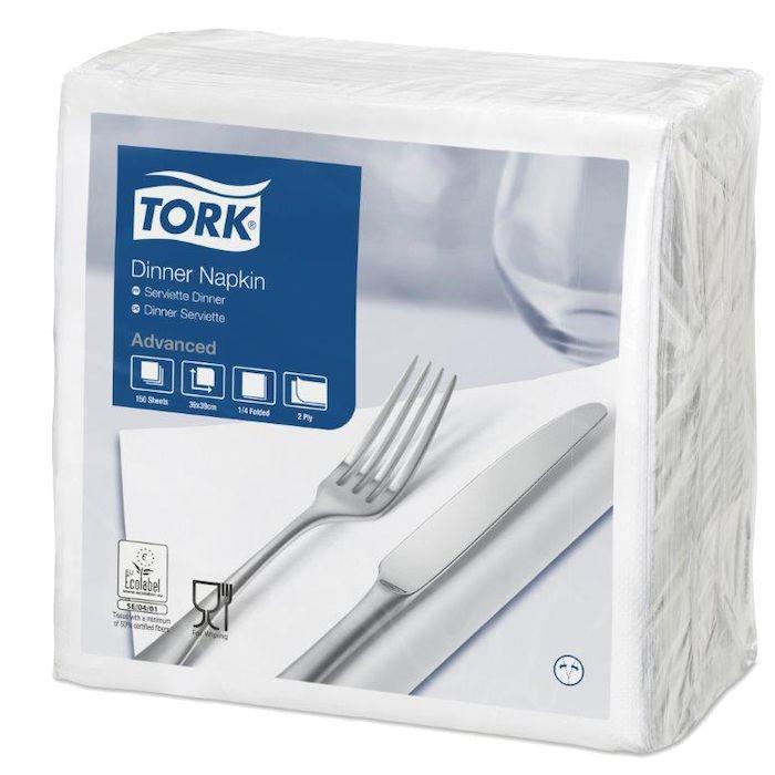 Disposerviet, Tork, 2-lags, hvid, papir, 40cm x 40cm