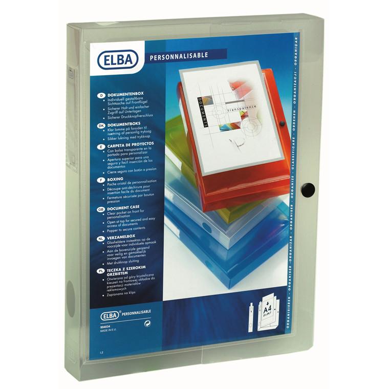 ELBA A4 dokumentboks med 4 mm ryg | mat transparent