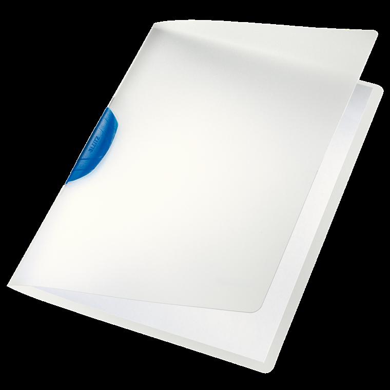 Dokumentmappe A4 Leitz Color Clip mat transparent med blå klemryg - 41750035