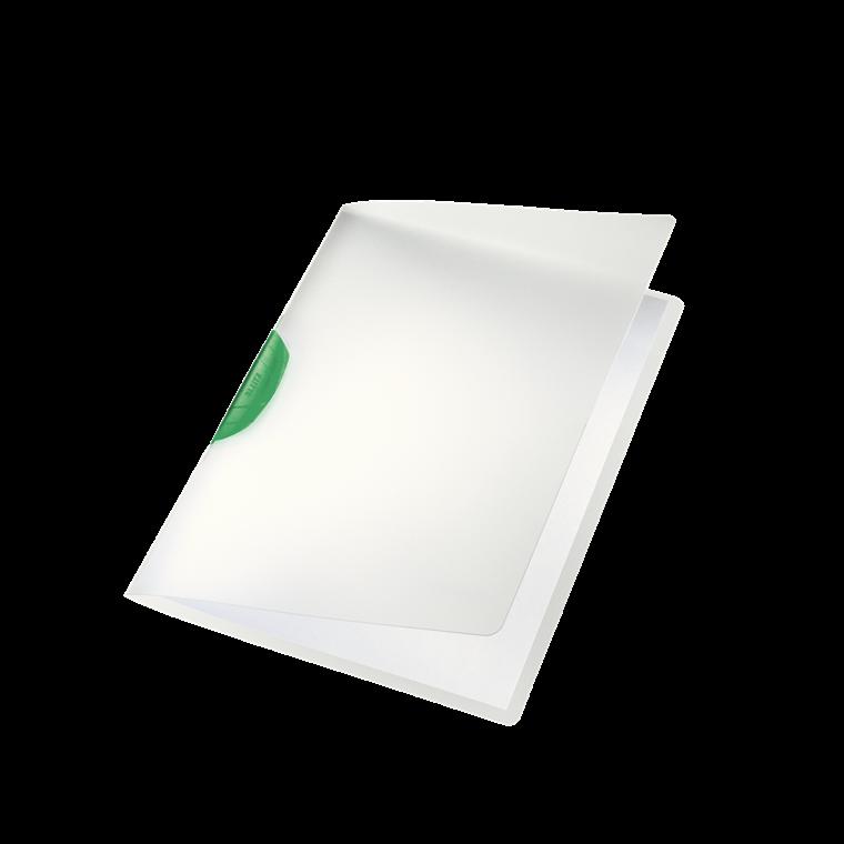 Dokumentmappe A4 Leitz Color Clip mat transparent med grøn klemryg - 41750055