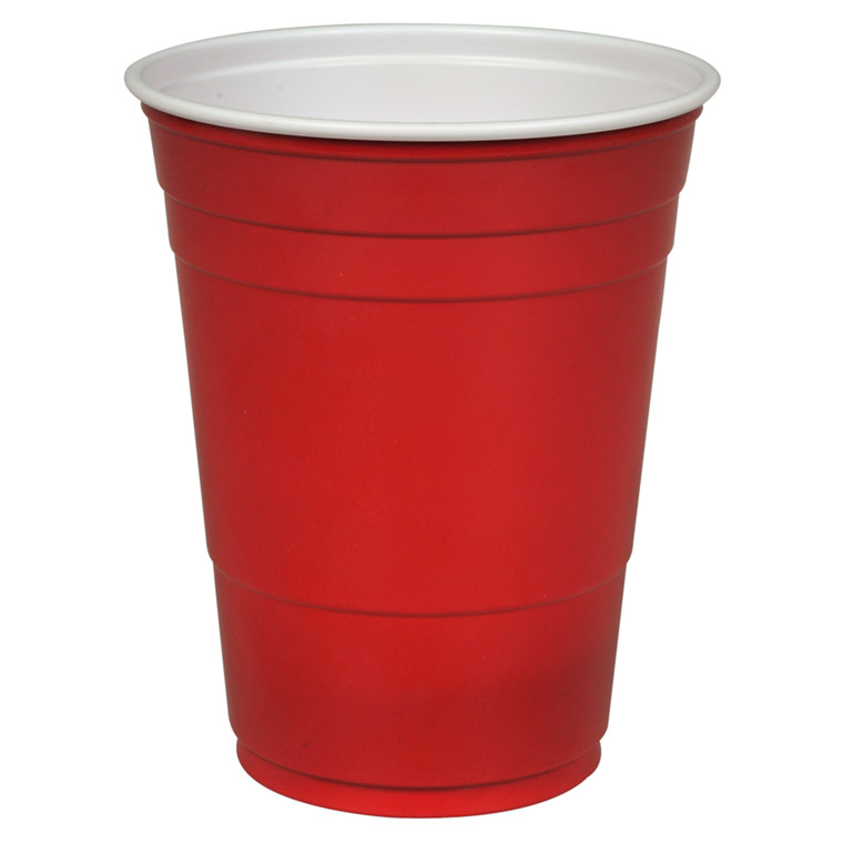 Drikkebæger, rød, polystyren, 40 cl,