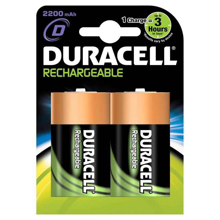 Duracell genopladelig Batteri D - 2200 mAh 2 stk i pakken