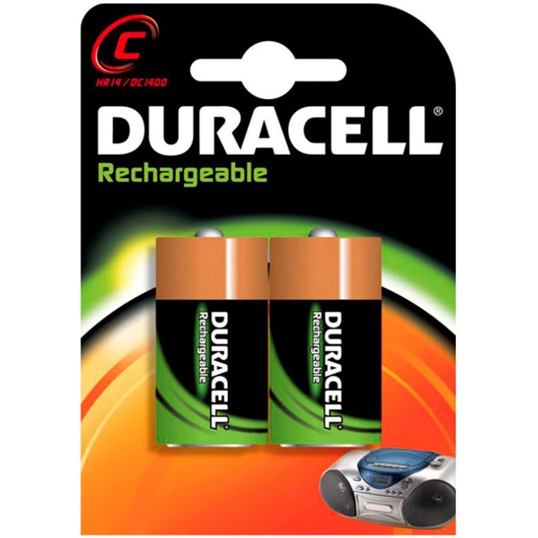 Duracell genopladelige C Batteri - 2200 mAh 2 stk i en pakke