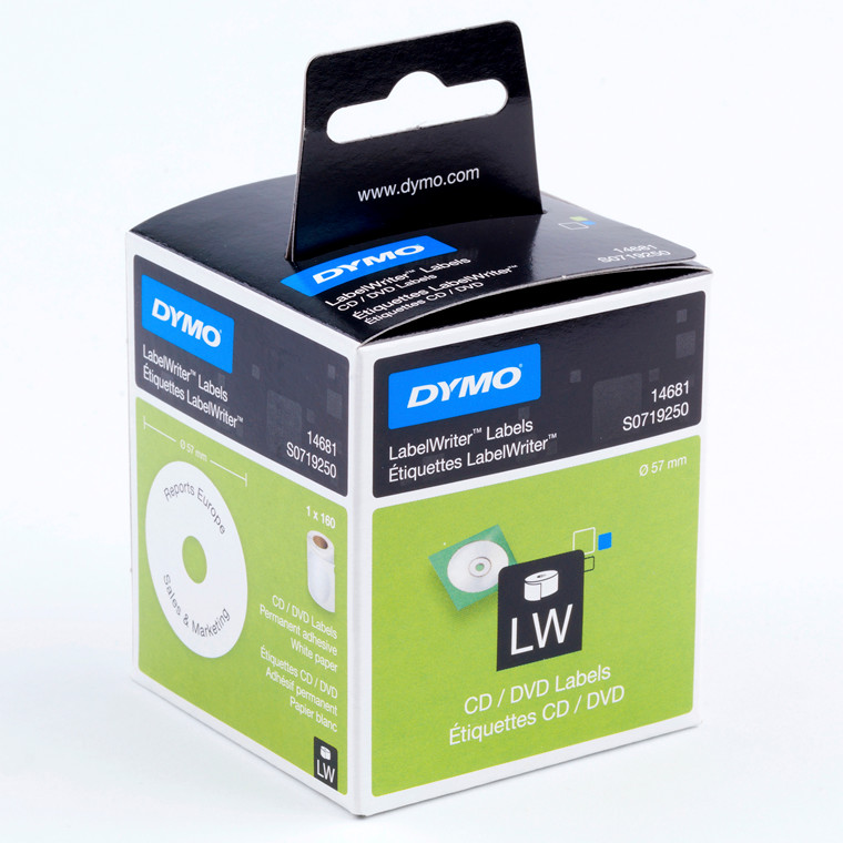DYMO 14681  - Etiketter til CD og DVD Ø: 57 mm - 160 stk