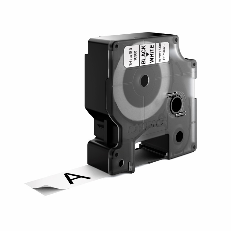 DYMO D1 16960 - Labeltape permanent  19 mm sort på hvid