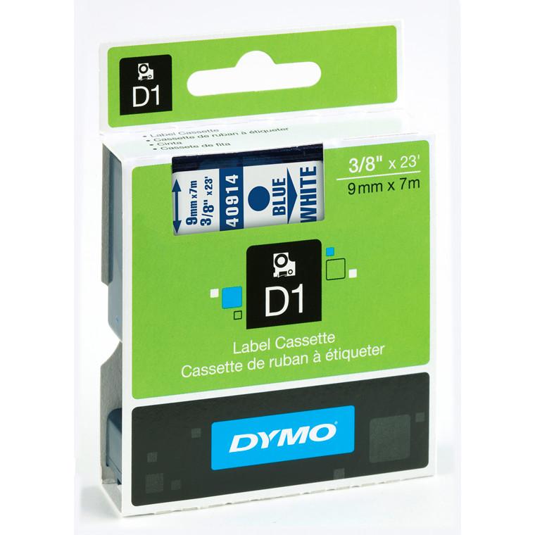 DYMO D1 40914 - Labeltape  9 mm blå på hvid