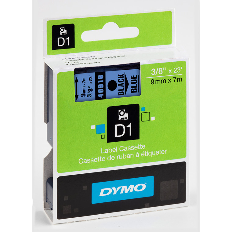 DYMO D1 40916 - Labeltape 9 mm sort på blå