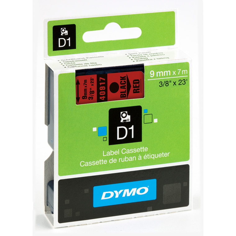 DYMO D1 40917 - Label tape 9 mm sort på rød