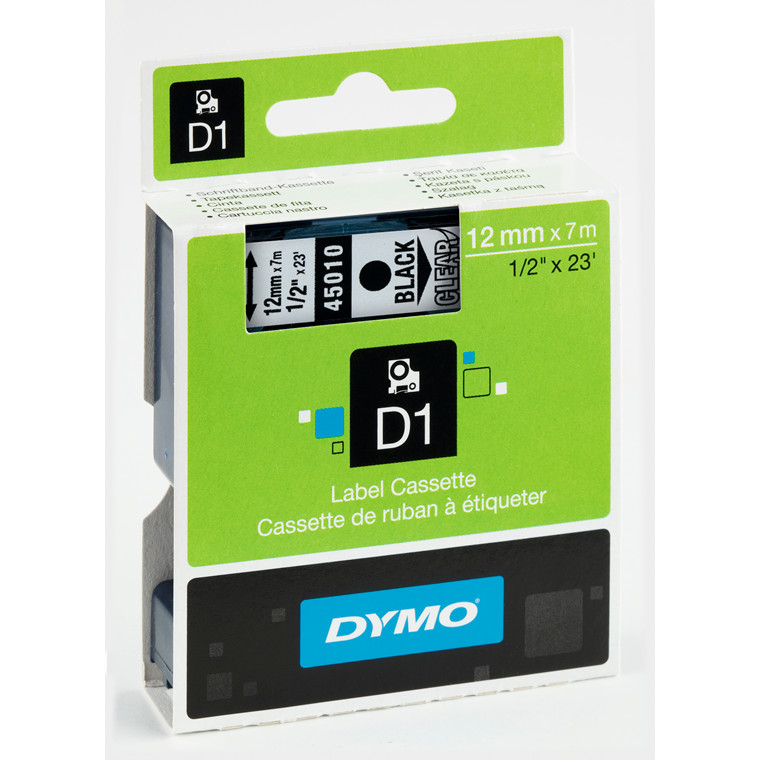 DYMO D1 45010 - Labeltape 12 mm sort på klar