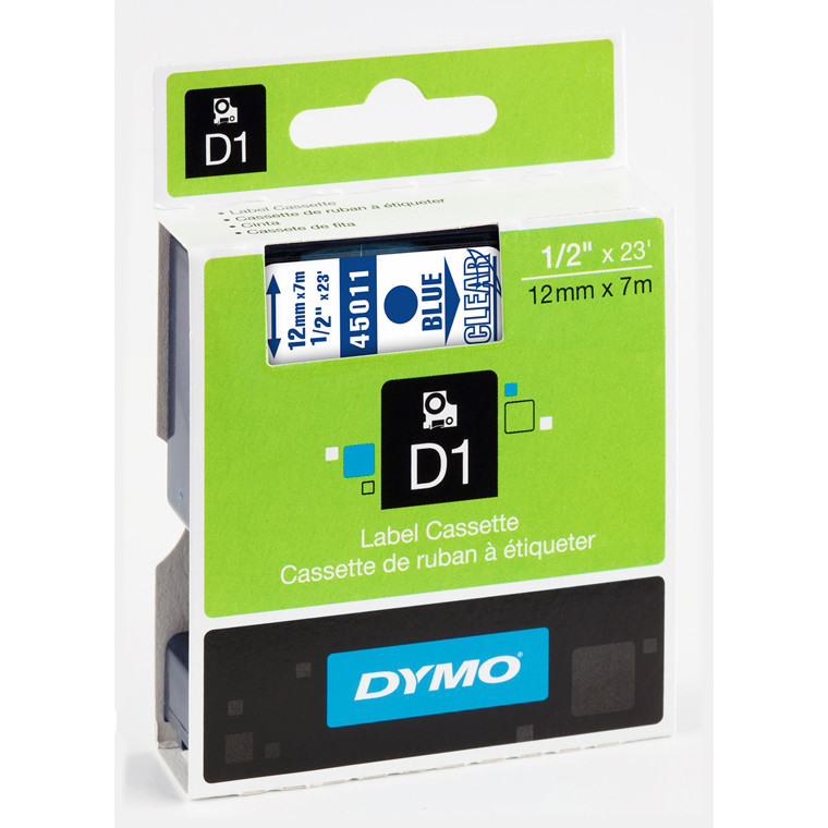 DYMO D1 45011 - Label tape 12 mm blå på klar