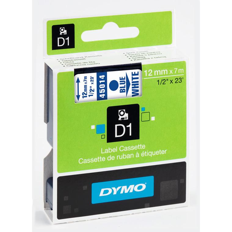 DYMO D1 45014 - Etiket tape 12 mm blå på hvid