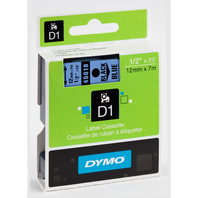 DYMO D1 45016 - Labeltape 12 mm sort på blå