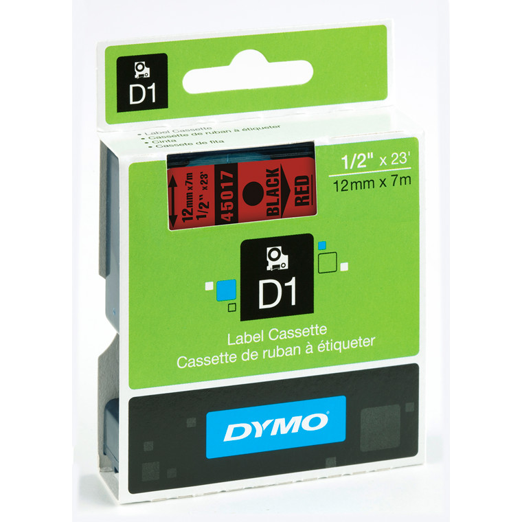 DYMO D1 45017 - Etiket tape  12 mm sort på rød