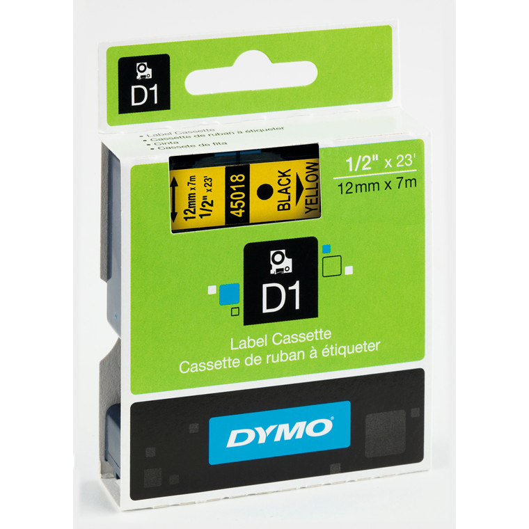 DYMO D1 45018 - Label tape 12 mm sort på gul
