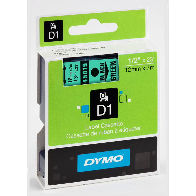 DYMO D1 45019 - Label tape 12 mm sort på grøn