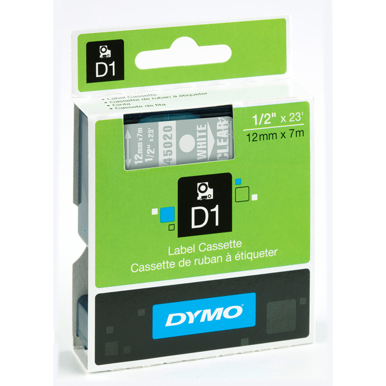 DYMO D1 45020 - Label tape 12 mm hvid på klar