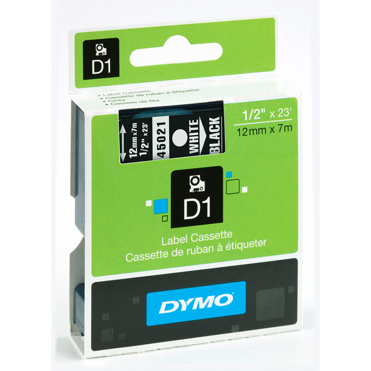 DYMO D1 45021 - Etiket tape 12 mm hvid på sort
