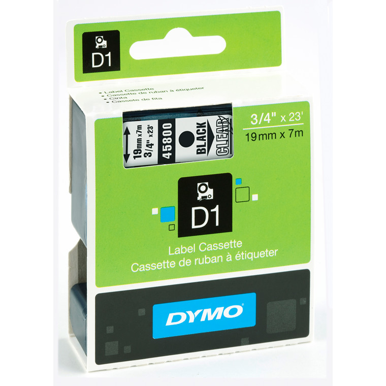 DYMO D1 45800 - Label tape  19 mm sort på klar