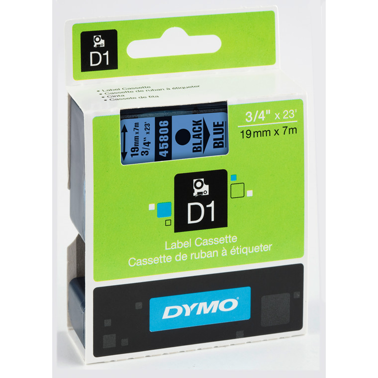 DYMO D1 45806 - Labeltape 19 mm sort på blå