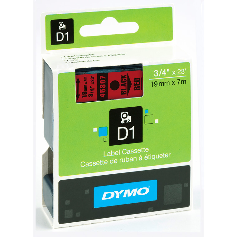 DYMO D1 45807 - Labeltape 19 mm sort på rød