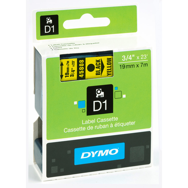 DYMO D1 45808 - Labeltape 19 mm sort på gul