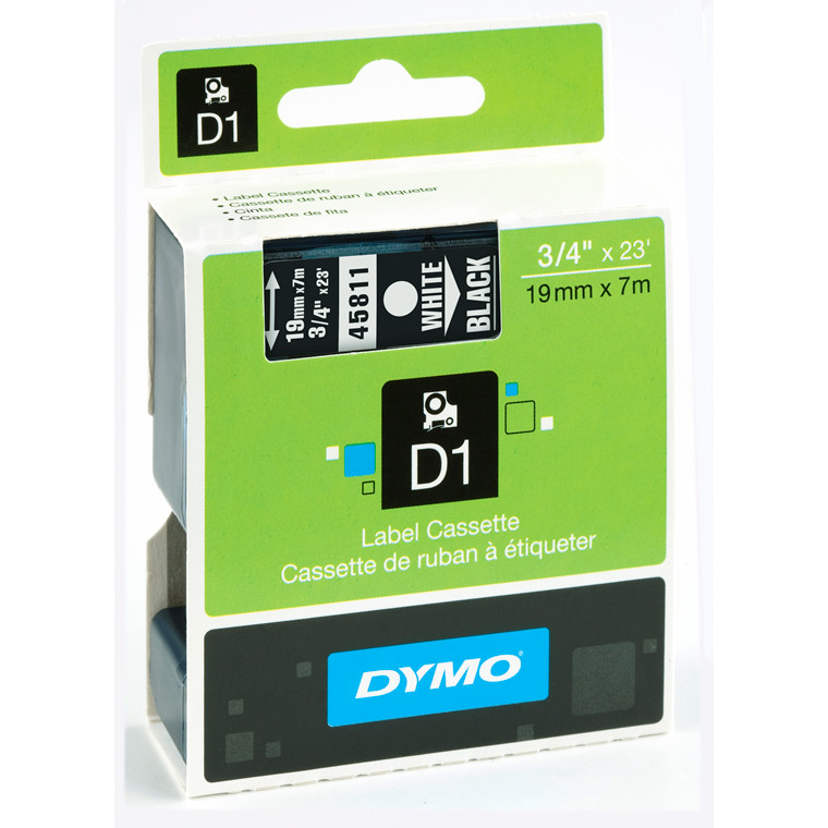 DYMO D1 45811 - Label tape 19 mm hvid på sort