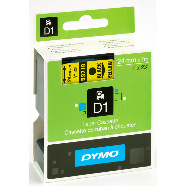 DYMO D1 53718 - Label tape  24 mm sort på gul