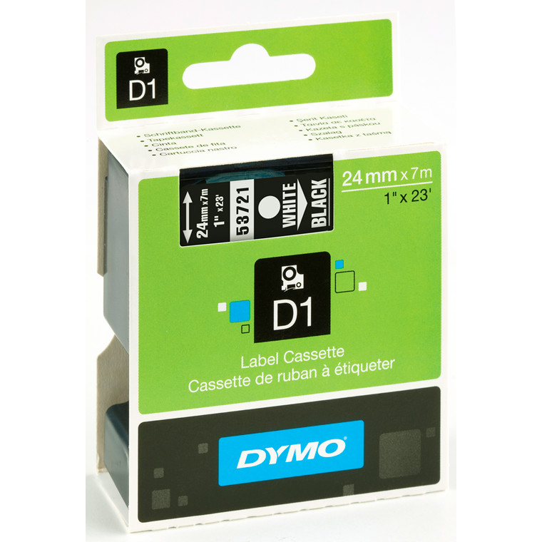 DYMO D1 53721 - Labeltape 24 mm hvid på sort