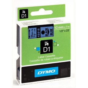 Dymo D1 tape 12mmx7m black/blue