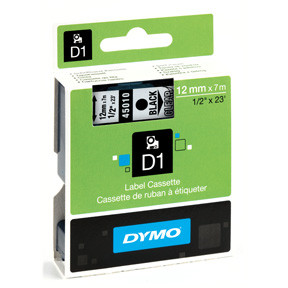 Dymo D1 tape 12mmx7m black/clear