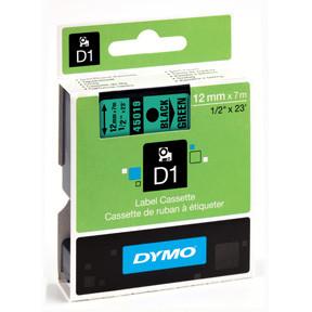 Dymo D1 tape 12mmx7m black/green