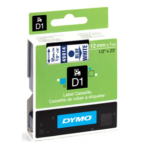 Dymo D1 tape 12mmx7m blue/white