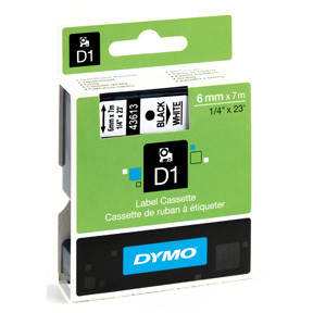 Dymo D1 tape 6mmx7m black/white