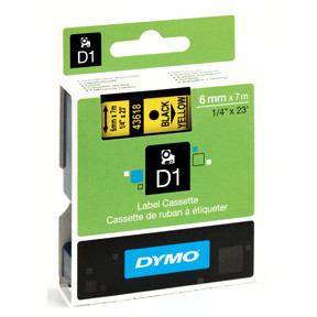 Dymo D1 tape 6mmx7m black/yellow