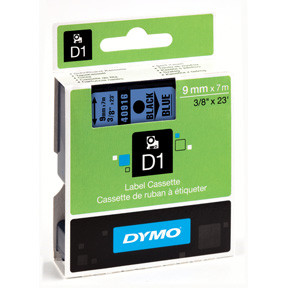 Dymo D1 tape 9mmx7m black/blue