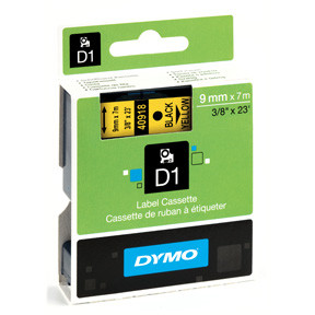 Dymo D1 tape 9mmx7m black/yellow
