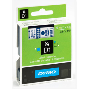 Dymo D1 tape 9mmx7m blue/white