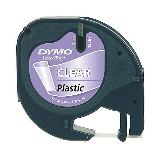 Dymo LetraTag tape plastic 12mmx4m clear