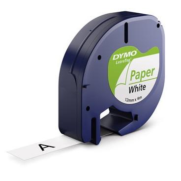 DYMO Tape LetraTAG S0721520 - 12 mm x 4 m hvid papirtape